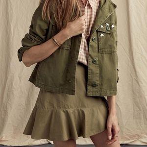 Madewell Ruffle Wrap Mini Skirt Olive Faux Frill